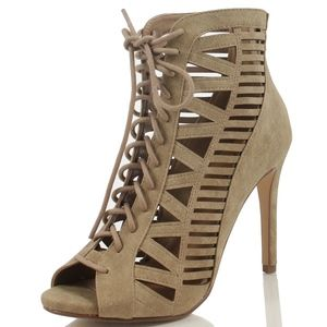 Shoes - SIZE 7.5 Taupe Laser Cutout Stiletto Heels